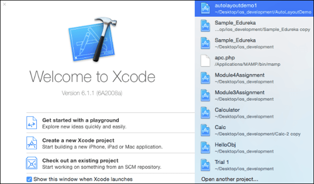 Welcome to Xcode page