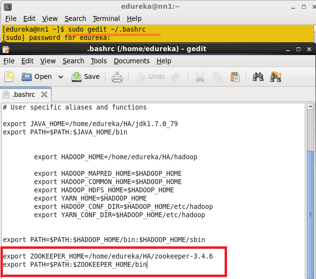 Add Hadoop and zookeeper paths to .bashrc file