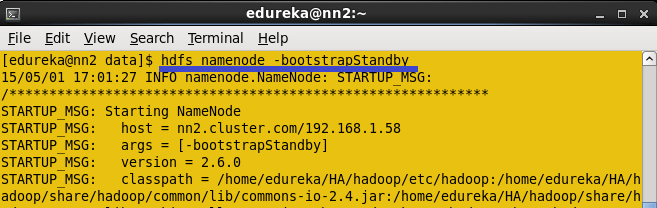 Copy the HDFS Meta data from Active name node to Standby Name node