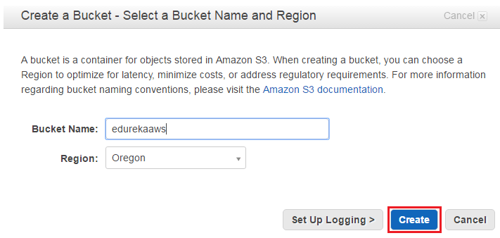 Bucket create - aws s3 tutorial - edureka