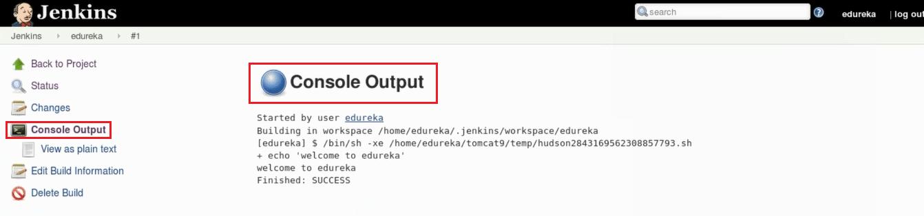 Console Output - Jenkins Tutorial - Edureka