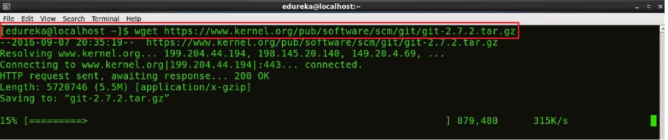 Centos Git Installation Step 7 - Install Git - Edureka
