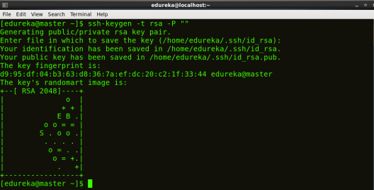 Generating ssh key on master node - Hadoop Multi Node Cluster - Edureka