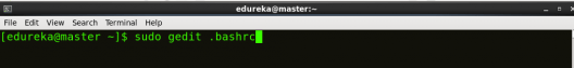 Open bashrc - Hadoop Multi Node Cluster - Edureka