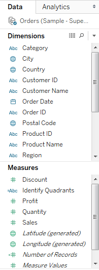 tableau dashbboard dimentions and measures