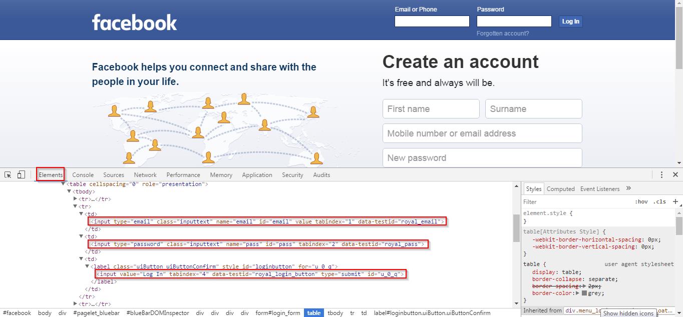 facebook screenshot - selenium tutorial