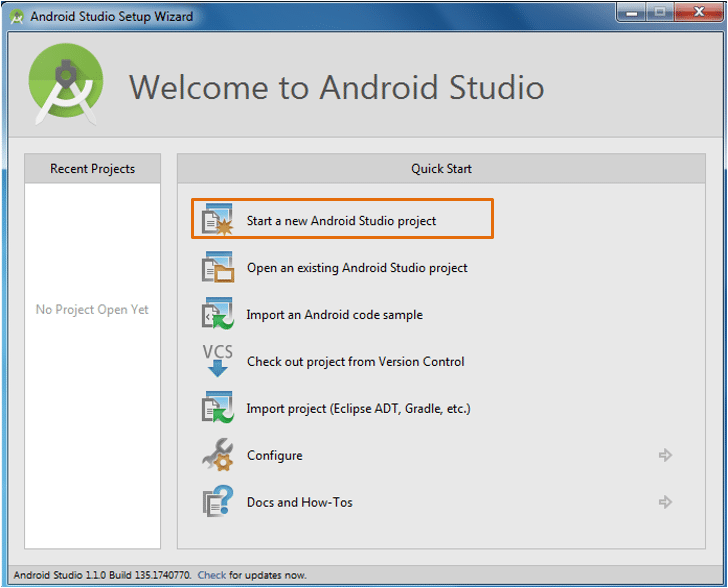 Starting a new Android Studio project