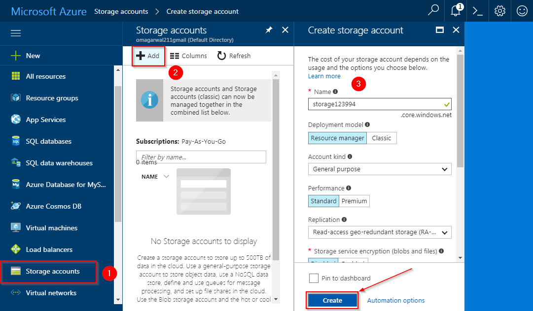 Create Storage Account - Azure Storage Tutorial - Edureka