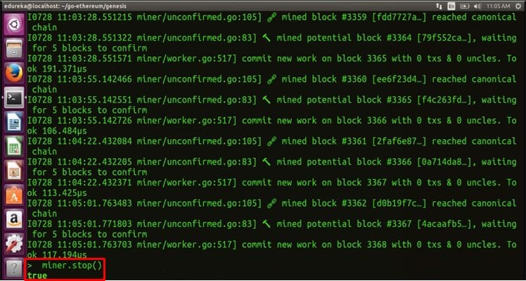 miner.stop() - Blockchain Tutorial -Edureka