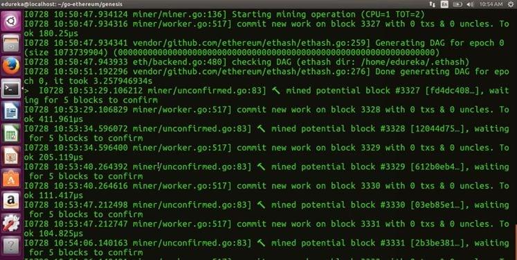 mining running - Blockchain Tutorial -Edureka