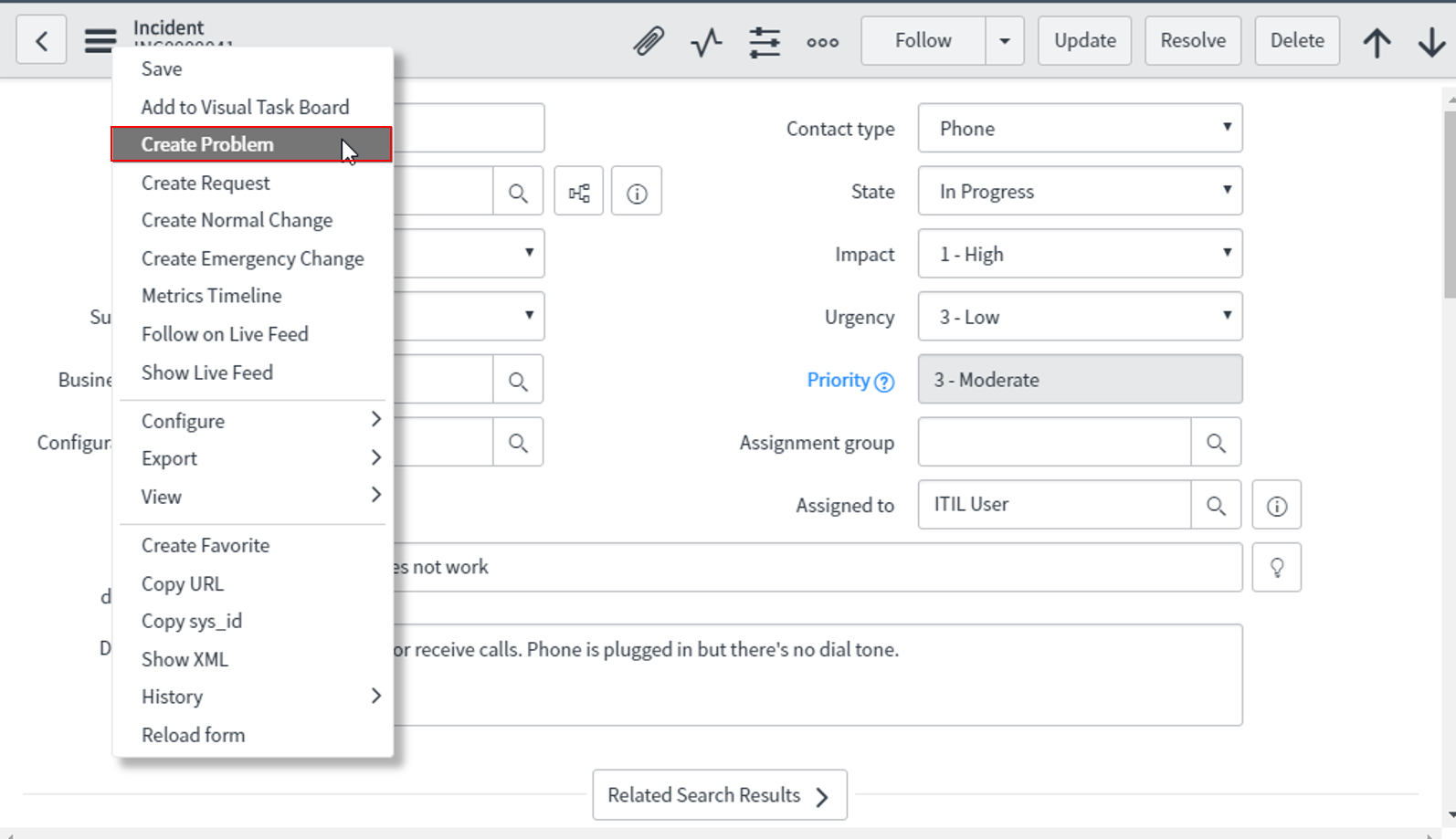 create_problem-Servicenow itsm tools-Edureka