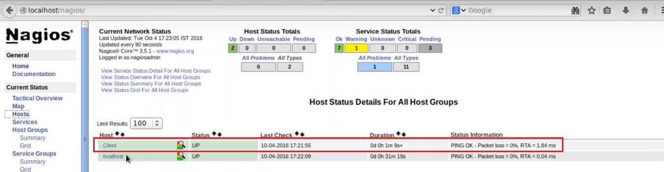 Added Remote Hosts - Nagios Tutorial - Edureka