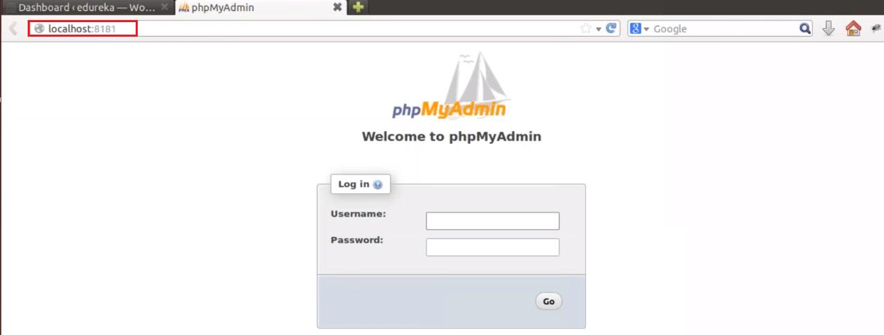 PhpMyadmin - Docker Container - Edureka