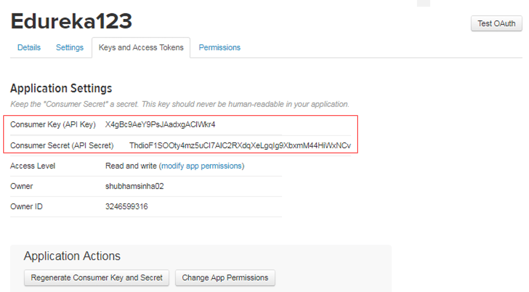 Twitter Application Key & Access Token - Apache Flume Tutorial - Edureka