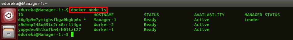 docker node ls command - docker swarm - edureka