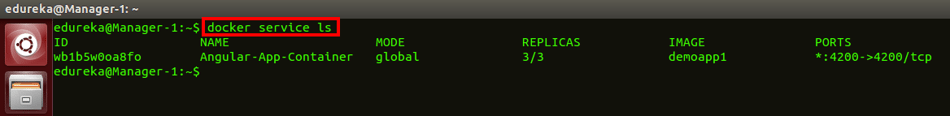 docker service list command - docker swarm - edureka