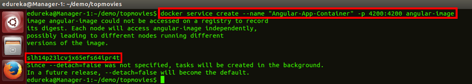 docker service create command - docker swarm - edureka