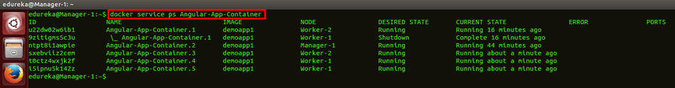 docker service ps scaled up command - docker swarm - edureka