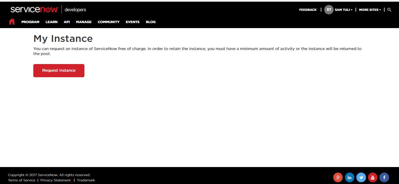 Instance Request - servicenow developer instance - Edureka