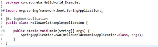 Snapshot Of Main Class Of Spring Project - Install SpringBoot Eclipse For Microservices - Edureka