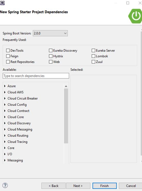 Snapshot Of Spring Starter Project Dependancies - Install SpringBoot Eclipse For Microservices - Edureka