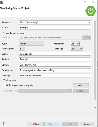 Snapshot Of Spring Starter Project - Install SpringBoot Eclipse For Microservices - Edureka