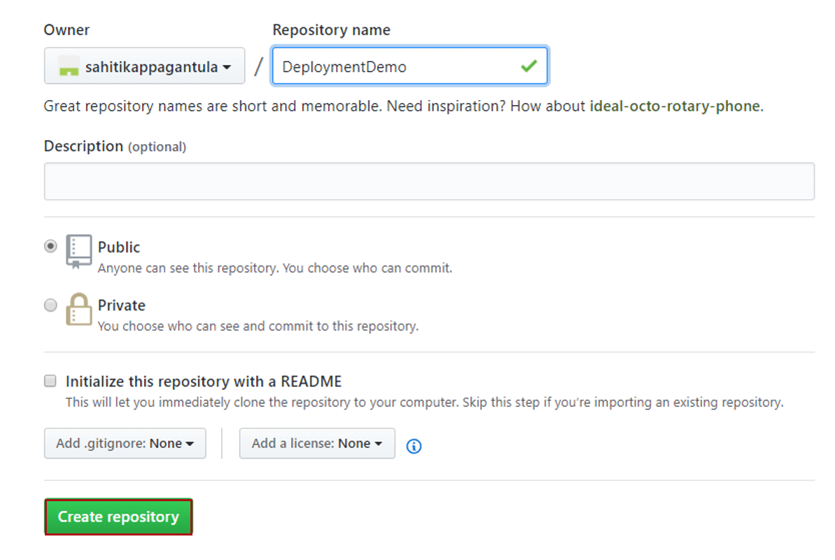 Give Repository Details In GitHub - Continuous Deployment - Edureka