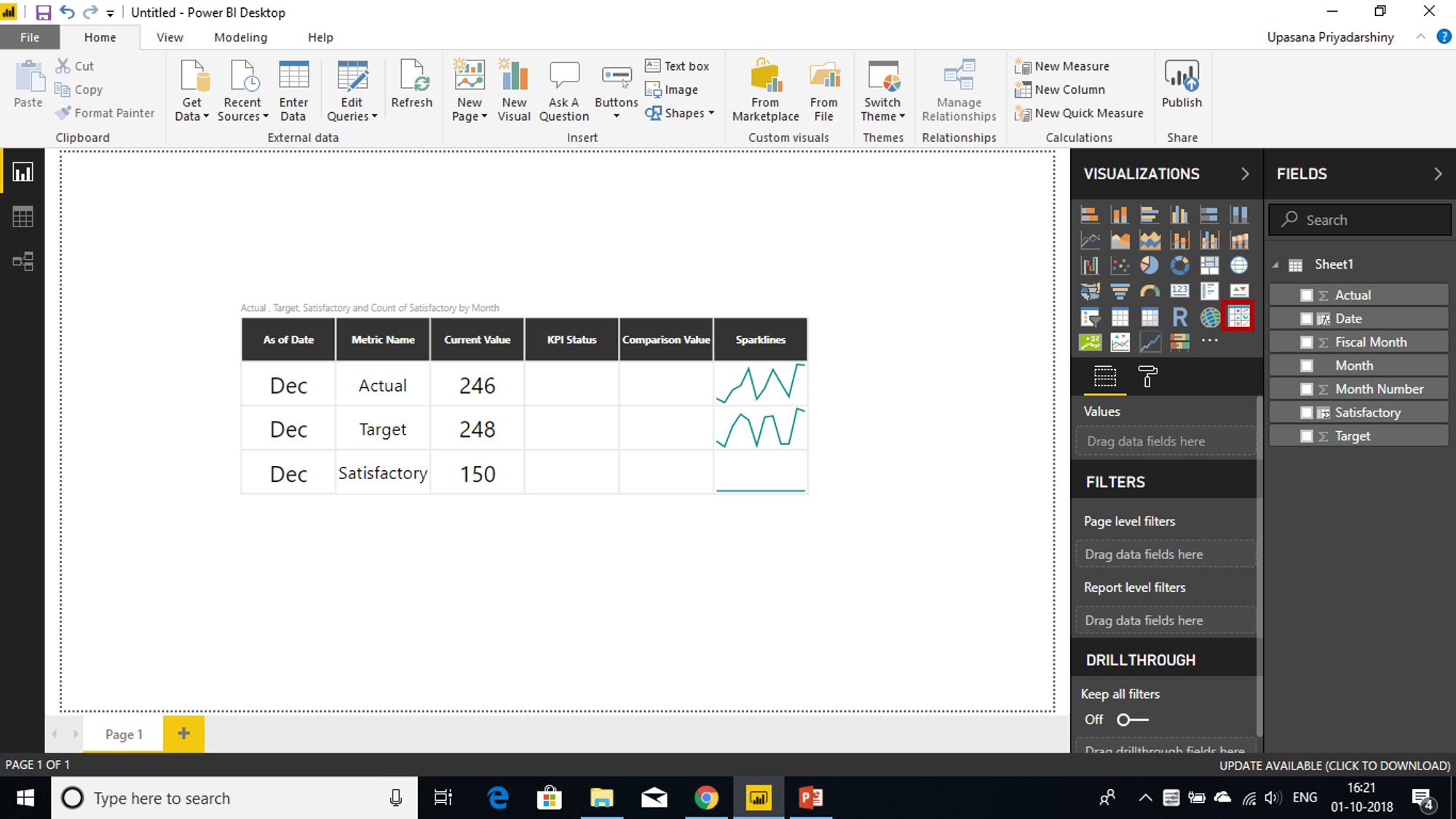 Power KPI Matrix - Power BI KPI - Edureka
