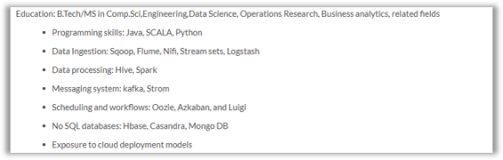 big data engineer resume  sample data engineer resume