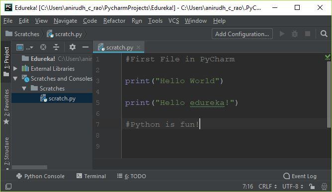 First Program - PyCharm Tutorial - Edureka