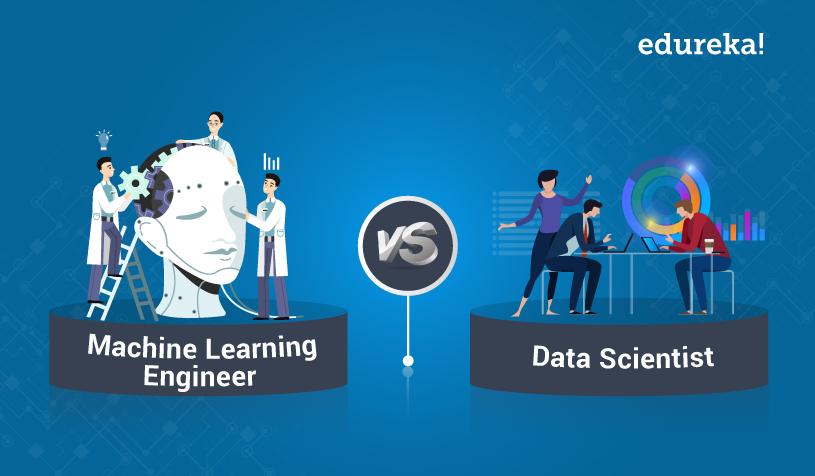 machine learning engineer vs data scientist edureka! diagram