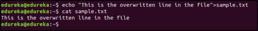 redirection operator overwritten - linux interview questions - edureka