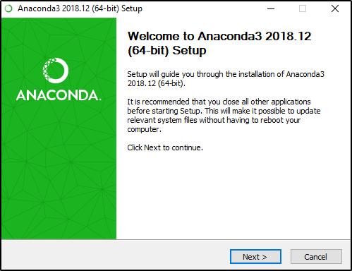 Opening Anaconda setup