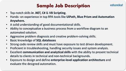 Sample Job Description of RPA Developer - How To Become A RPA Developer - Edureka