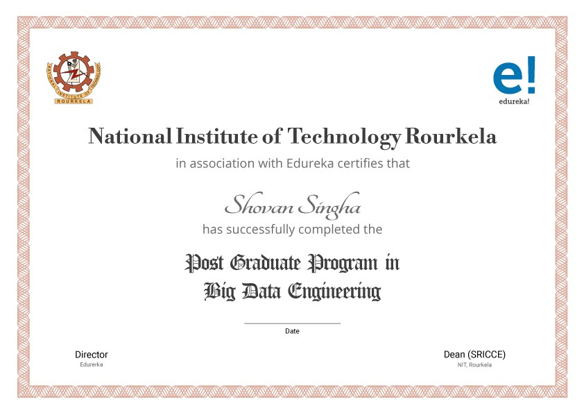 Post Graduate in Big Data Engineering from NIT Rourkela-Edureka