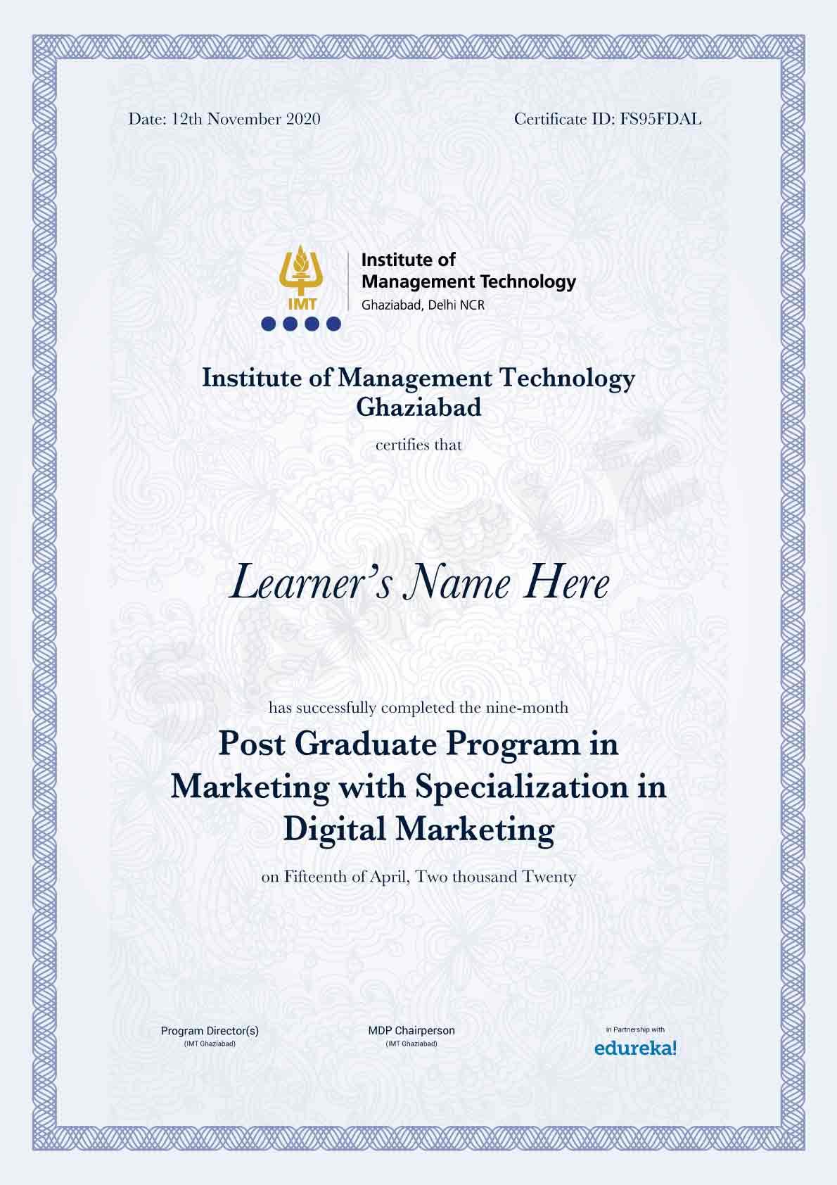 marketing program certification
